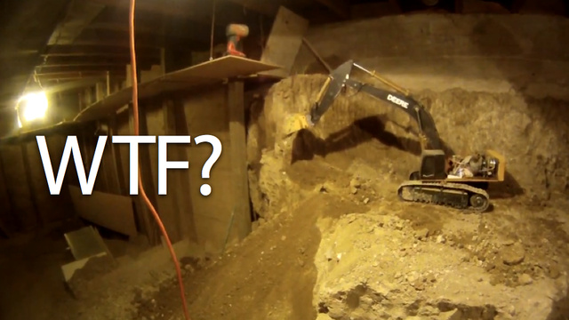 Since 1997, A Man Has Been Digging Out His Basement Using Only R/C Scale-Model Construction Equipment